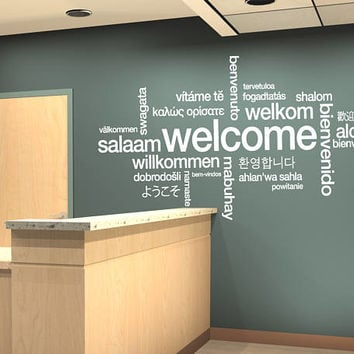Welcome Sign Decal, Welcome Wall Sticker, Welcome in Many Languages Decor, Welcome Design Wall Art Design All Languages Room Mural se143