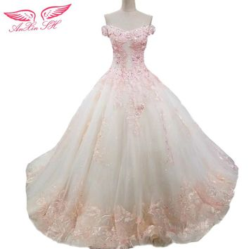 AnXin SH lace flower wedding dress lace pink flower wedding dress champagne lace handmade flower wedding dress 100% real photos
