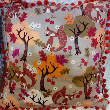 Decrative Pillow  Autumn Fox with Bright Orange Pom-pom trim