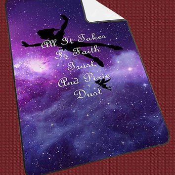 Disney Peter Pan Tinkerbell Quotes Nebula Galaxy 195ac186-f17d-458e-a85a-d5f164229971 for Kids Blanket, Fleece Blanket Cute and Awesome Blanket for your bedding, Blanket fleece**
