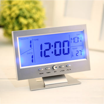 2016 Voice Control Back-light LCD Alarm Desk Clock Weather Monitor Calendar With Thermometer