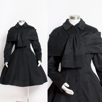 Vintage LILLI ANN Coat - 50s Black Wool Princess Coat New Look 1940s - Medium