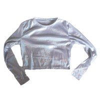 Holographic High Neck Long Sleeve Crop