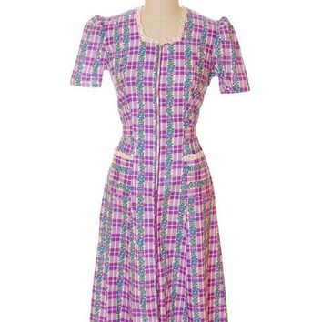Vintage Cotton Printed  House Dress Purple Plaid Kenrose  Zip Front Early 1940s 38-28-38