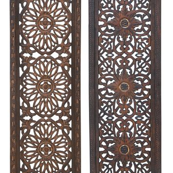 Floral Hand Carved Wooden Wall Panels, Assortment of Two, Brown By Benzara