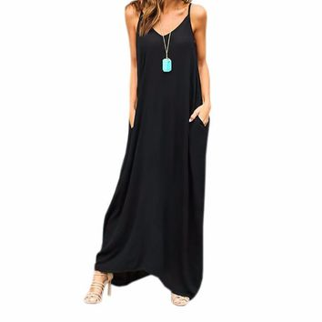 Women's Black Flowy Spaghetti Strap V-Neck Comfy Cozy Casual Summer Maxi Dress with Pockets