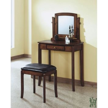Walnut Solid-Top 2Pcs Vanity Set / Brown Leatherette - Monarch Specialty I-1582