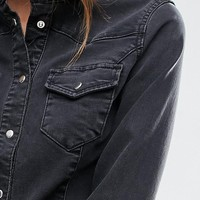 ASOS Denim Fitted Western Shirt in Washed Black at asos.com