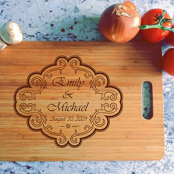 ikb485 Personalized Cutting Board Wood wedding gift anniversary date names wooden wedding