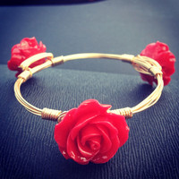 Handmade gold rose wire bangle, wire braclete
