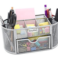 EasyPAG Mesh Desk Organizer 9 Components Office Supply Caddy with Drawer Sliver