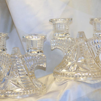 Set of Pressed Glass (Double Candle) Candle holders - Clear - Beautiful Elegant Detailed Pattern -EAPG