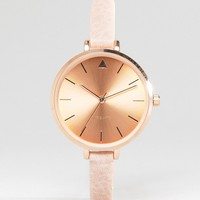 ASOS Tonal Large Face Skinny Strap Watch With Rose Gold Detail at asos.com