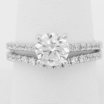 1 Carat Solitaire 4 Prong Cubic Zirconia Engagement Ring with Matching Curved Band (Silver) by CZ Sparkle Jewelry®