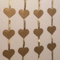 Gold Heart photo prop garland. Wedding Decor, Bridal Shower, Baby Shower, Baby mobile nursery, Engagement, Anniversary. Choose Your Colors!