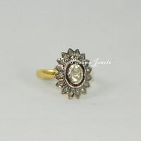 Victorian Style Handmade 1.80ct Champagne / Rose and Antique Cut / Polki Diamond Party Wear Flower Ring Band