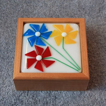 Wooden box with handcut fused glass flowers