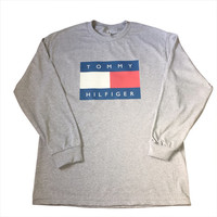 Gray Tommy Hilfiger Logo Long Sleeve Shirt 90s Fashion