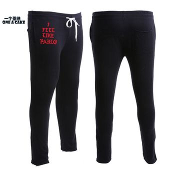 Sweatpants I Feel Like Paul Pablo Fashion Kanye Brand Clothing Male 100% Cotton Pants Top Quality Solid Fitness Trousers Women