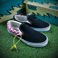 Best Online Sale Billy 3th Customise Vans Slip on Sneakers Casual Shoes Black Pink