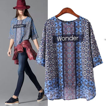 Stylish Round-neck Short Sleeve Alphabet Print Pullover Shirt Women's Fashion Tops T-shirts [5013421508]