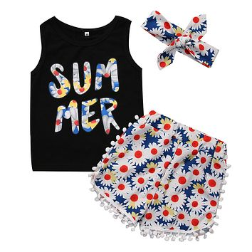 3Pcs Floral Kids Girls Clothes set T-shirts Tops+Pants+Headband Outfits Set outfits Age 2-7T