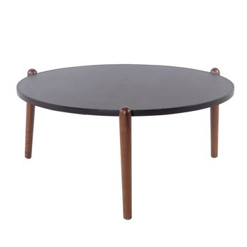 Farren Recycled Leather Round Coffee Table Walnut Legs, Umber Brown