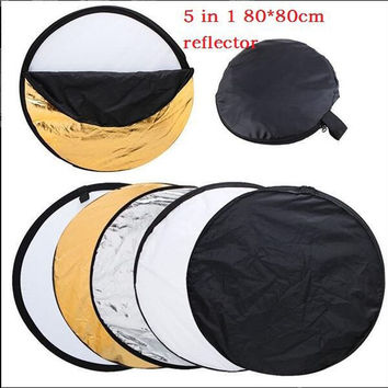 "Promotion 80cm 5 in 1 32"" Light Mulit Collapsible Disc Reflector Portable Light Round Photography Photo Reflector for Studio"