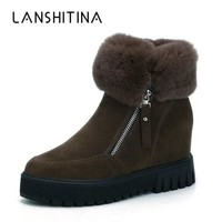 2018 Women Warm Ankle Boots Plush Wedge Ultra High Heel Flock Shoes Increased Elevator Sneakers Zipper Women Winter Snow Boots