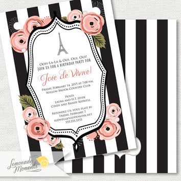 Paris Invitation / Eiffel Tower Birthday Invite