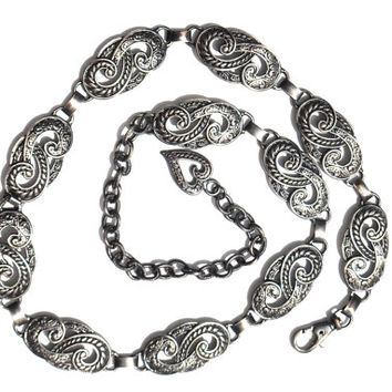 Vintage Pewter Ornate Silver Chain Belt
