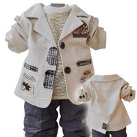 2014 New arrival children's Clothing Sets cotton coat+T-shirt+pants baby boy/kid three piece sets Freeshiping