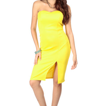 Yellow Front Slit Strapless Midi Dress