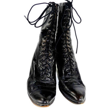 Antique Victorian Boots Black Leather Edwardian Shoes Steampunk Vintage Granny Boots