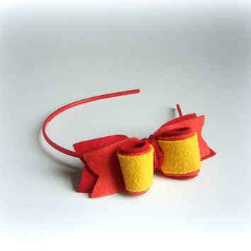 Red headband Baby bow dark orange yellow hair Handmade hairband Bow back to school Girls bow accessory Felted hair band gift under ten