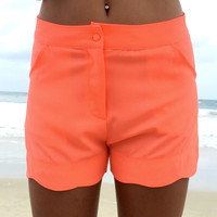 Prepster Scallop Shorts In Neon Coral
