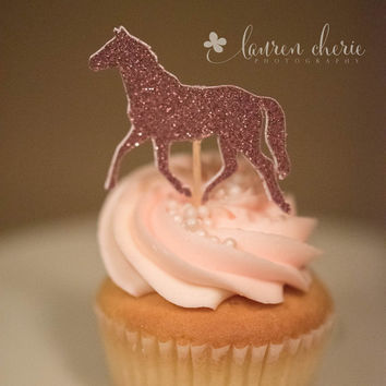 Horse Cupcake Toppers, 12 horses in pink glitter, birthday party decorations