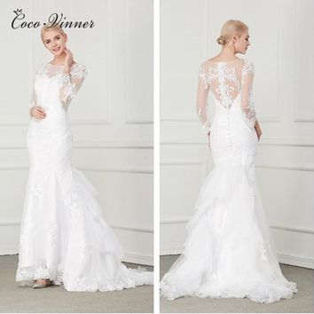 C.V Vestido De Noiva 2018 Elegant Wedding Gowns Bridal Dresses Popular Beads Lace Embroidery Vintage Mermaid Wedding Dress W0004