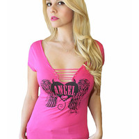 "Women's ""Angel Heart"" Slashed Graphic Tee by Rodeo Fox (Pink)"