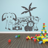 EASTER SALE - Welcome to the jungle - jungle animals- Vinyl Lettering (Interior & Exterior Available)