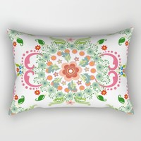 Folk Art Medallions on white Rectangular Pillow by Heaven7