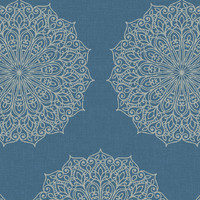 Traditional Medallions Wallpaper in Metallic and Blues design by Seabrook Wallcoverings