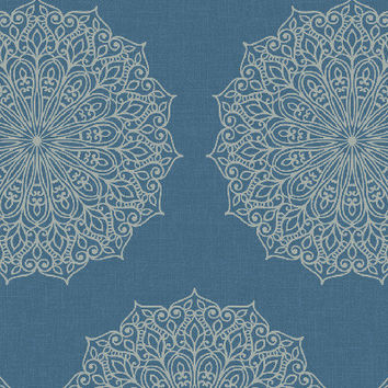 Sample Traditional Medallions Wallpaper in Metallic and Blues design by Seabrook Wallcoverings