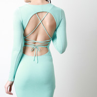Lace Up Backless Bodycon Midi Dress