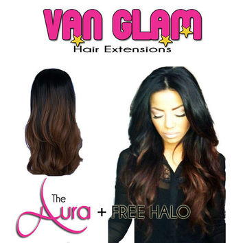 FREE Halo with Aura Fall Crown Clip In Hair Extensions Natural Color or Ombre