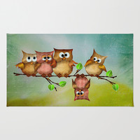 Owl crashed Area & Throw Rug by LessaKs Art