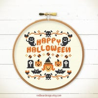 Halloween cross stitch pattern - HAPPY Halloween - Xstitch Instant download - Crazy Modern Trick or Treat Cute ghost Funny pumpkin skull
