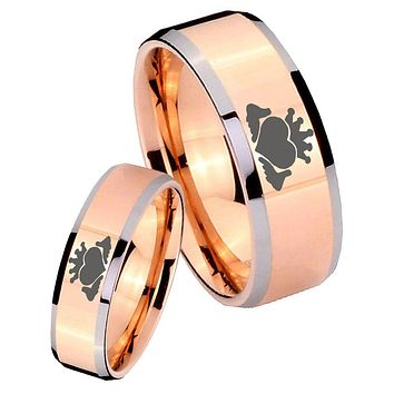 His Hers Rose Gold Beveled Claddagh Design 2 Tone Tungsten Wedding Rings Set