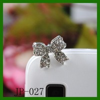 Bow Rhinestone JP-027-Silver Dust Plug / Earphone Jack Accessory / Ear Cap / Ear Jack for Iphone / Ipad / Ipod Touch / All Device with 3.5mm Jack