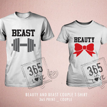 Cute Matching Beauty & Beast Couple T-shirt (White)